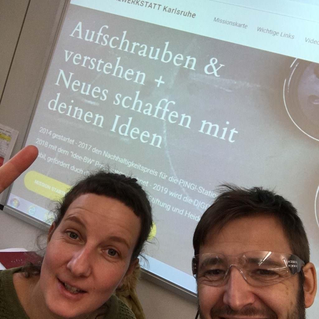 Paula und Thorsten Belzer bei einen Workshop der DIGITALWERKSTATT ohen Logbuch