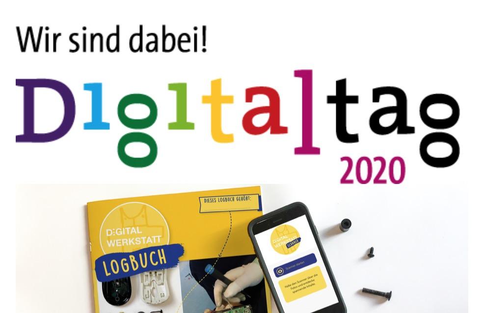 DIGITALWERKSTATT KArlsruhe mit dem Logbuch beim Digitaltag20