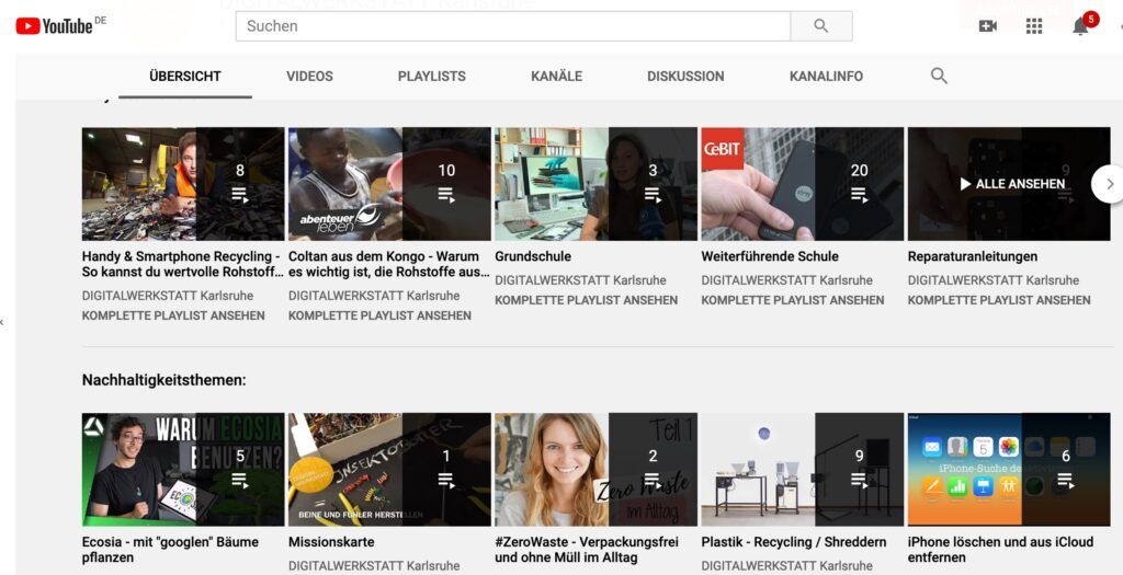 Screenshot DIGITALWERKSTATT YouTube Kanal - Playlsiten und Logbuch Videos - Übersicht